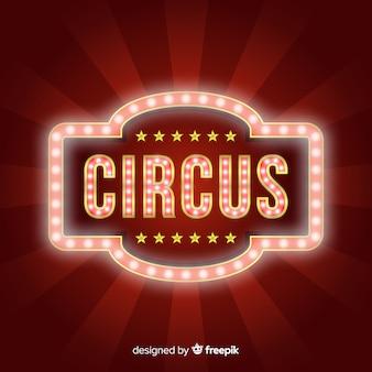 Vintage znak światła cyrku