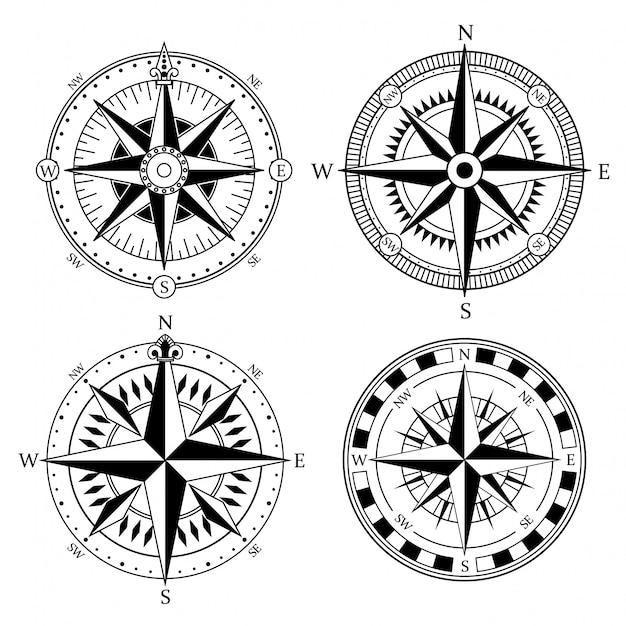 Vintage znaki morskie kompas