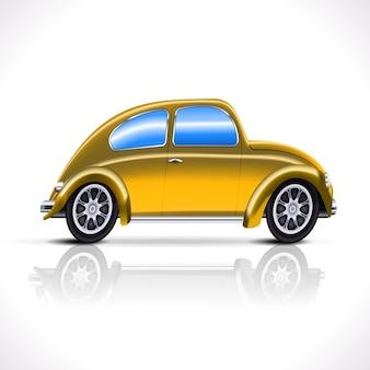 Vintage żółty samochód na białym tle