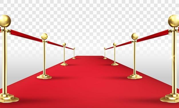 Vip czerwony dywan i złote bariery realistyczna ilustracja wektorowa 3d