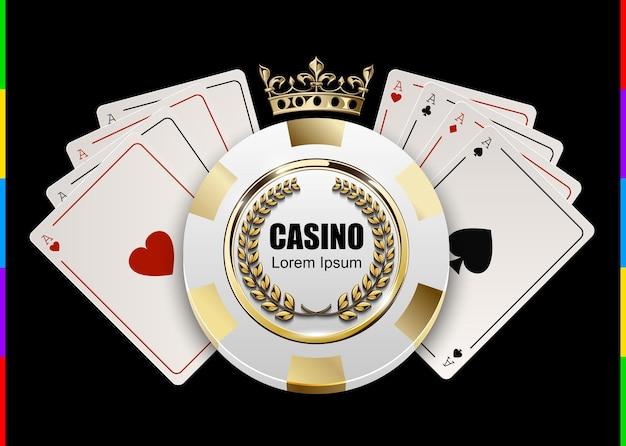Vip poker luksusowy biały i złoty żeton w złotej koronie z koncepcją logo wektor kasyna asa. godło królewskiego klubu pokerowego z wieńcem laurowym na białym tle na czarnym tle