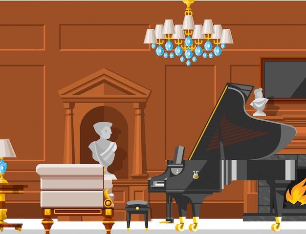 Vip rocznika wewnętrznego meble bogaty bogaty domowy pokój z kanapa ściana z cegieł tła ustaloną ilustracją.