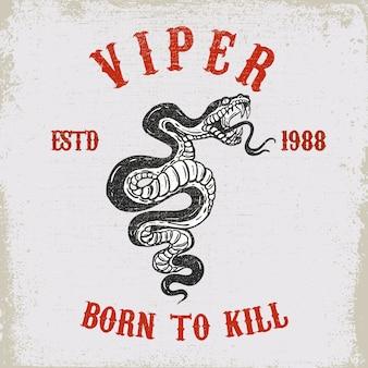Viper snake ilustracja na grunge tekstur