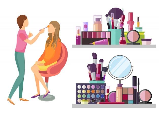 Visage makeup visagiste profesjonalna ilustracja