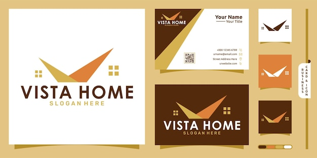Vista nowoczesna koncepcja logo domu i projekt wizytówki wektor premium