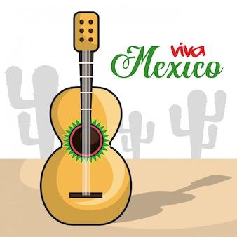 Viva meksyk instrument muzyczny na białym tle plakat