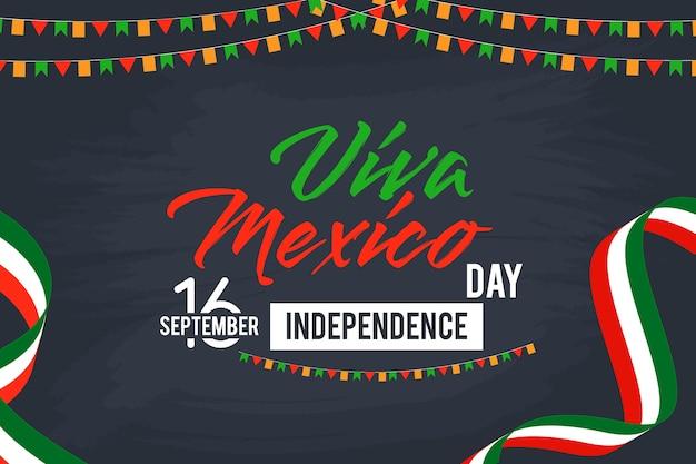 Viva meksyk szczęśliwy dzień niepodległości wektor tle