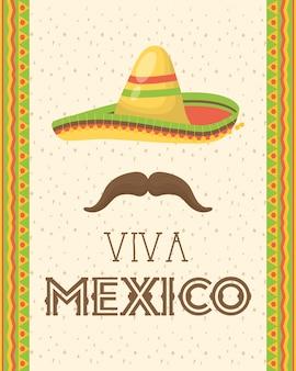 Viva mexico celebracja z czapką i wąsami
