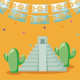 Viva mexico celebracja z piramidy i ikony