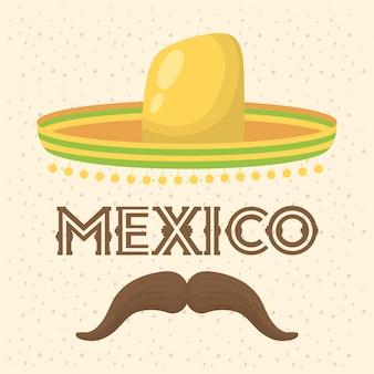 Viva mexico celebracja z tradycyjnym kapeluszem