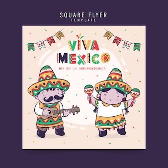 Viva mexico, dia de la independencia lub święto niepodległości, kwadratowy projekt ulotki