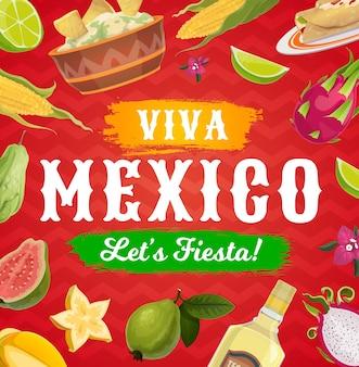 Viva mexico fiesta party jedzenie i picie tło meksykańskiej karty z pozdrowieniami świątecznymi.