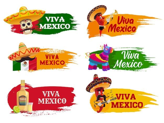 Viva mexico na białym tle ikony z postaciami muzyk papryczki chili