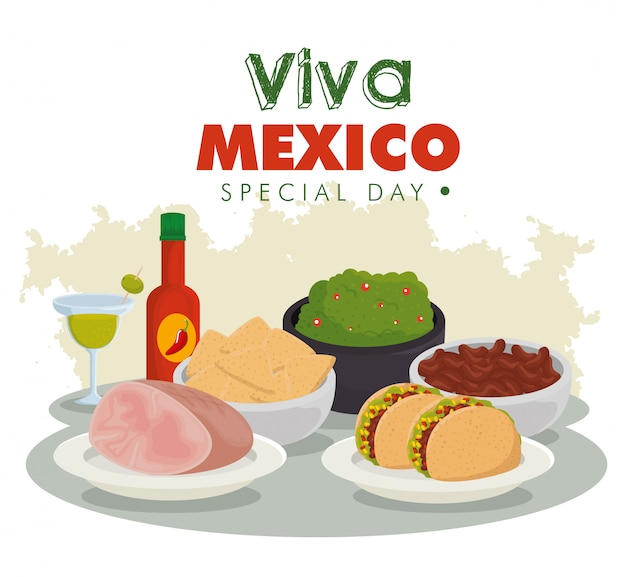 Viva mexico. tradycyjne meksykańskie jedzenie na uroczystości