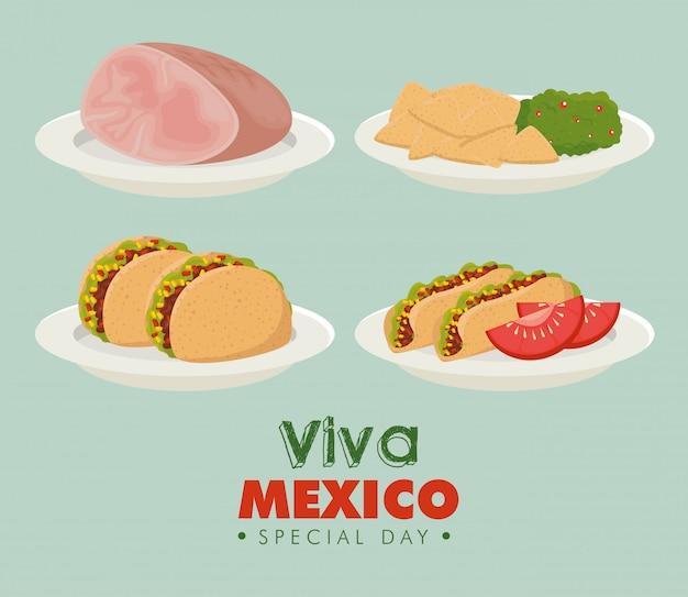 Viva mexico. ustaw tradycyjne meksykańskie jedzenie na imprezę w meksyku