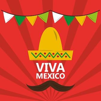 Viva mexico wąsy banderki czerwieni kapeluszowy tło