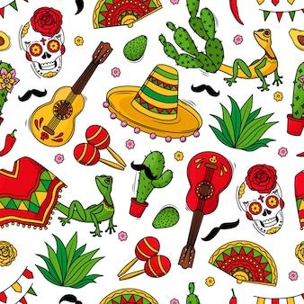 Viva mexico wzór z symbolami kultury meksykańskiej na białym tle. gitara, sombrero, marakasy, kaktus i czaszka kolorowe tło wektor. ilustracja wektorowa