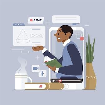 Vlogger na ilustracji w mediach społecznościowych