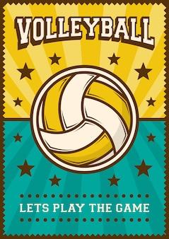 Volley ball siatkówka sport retro pop art poster signage