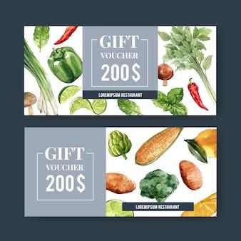 Voucher prezentowy kolekcja warzywnych farb akwarelowych. świeża żywność organiczna zdrowa ilustracja