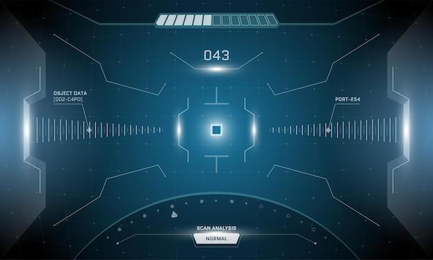 Vr hud cyfrowy futurystyczny interfejs projekt ekranu cyberpunk. technologia sci-fi wirtualnej rzeczywistości umożliwia wyświetlanie widoku przez głowę. panel pulpitu nawigacyjnego technologii gui. ilustracja wektorowa wizjera lornetki