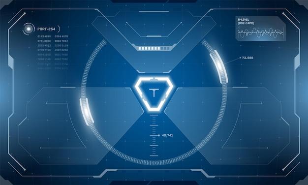 Vr hud cyfrowy futurystyczny projekt ekranu interfejsu technologia wirtualnej rzeczywistości widok wyświetlacz head up
