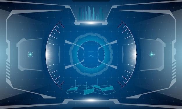 Vr hud futurystyczny interfejs cyberpunkowy projekt ekranu. technologia symulatora rzeczywistości wirtualnej science-fiction wyświetla wyświetlacz przezierny. hi tech gui ui cyfrowy pulpit nawigacyjny świecący panel wektor koncepcja ilustracja eps
