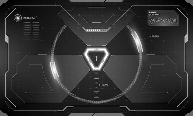 Vr hud futurystyczny interfejs ekranu panelu sterowania cyberpunk w kolorze czarnym. wyświetlacz typu head-up view z technologią symulatora celowania w wirtualną rzeczywistość science fiction. hi tech gui cyfrowy świecący pulpit nawigacyjny ui