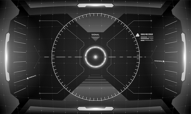 Vr hud interfejs cyberpunk ekran czarno-biały koncepcja projektowania. futurystyczny wizjer z widokiem na wirtualną rzeczywistość science fiction. gui ui technologia cyfrowa panel deski rozdzielczej ilustracja wektorowa eps