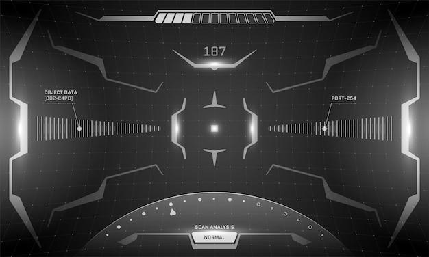 Vr hud interfejs cyberpunk ekran czarno-biały koncepcja projektowania. futurystyczny wizjer z widokiem na wirtualną rzeczywistość science fiction. ilustracja wektorowa panelu pulpitu nawigacyjnego statku kosmicznego gui ui technologii cyfrowej