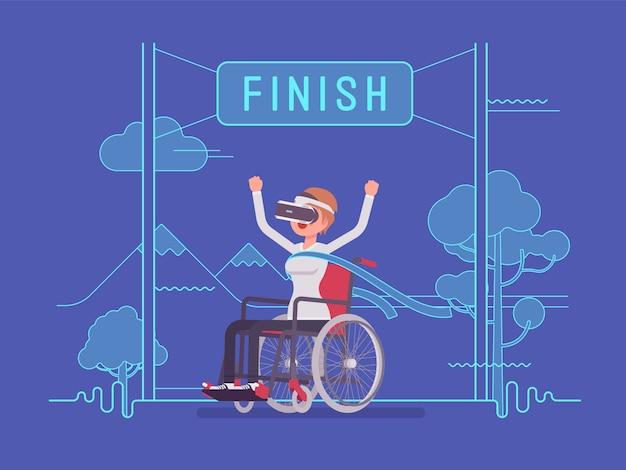 Vr kobieta kobieta na wózku inwalidzkim użytkownik wygrywający