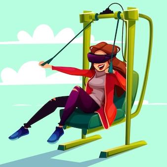Vr symulaci rozrywki paragliding kreskówki ilustracja.