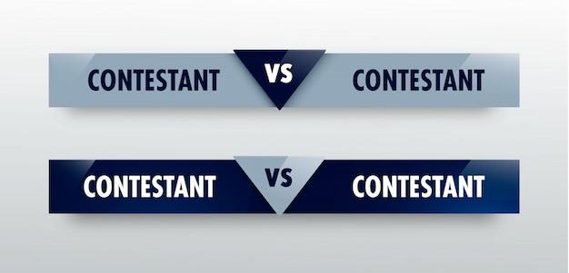 Vs versus board of rywali o rywalizację sportową. bitwa vs mecz, konkurencyjna koncepcja gry