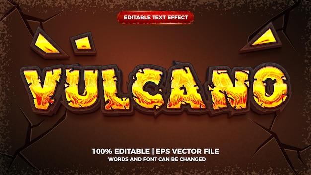Vulcano czerwony ogień 3d edytowalny efekt tekstowy
