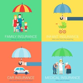 W biznesie ubezpieczeniowym nowoczesny płaski zestaw ikon ilustracja koncepcja