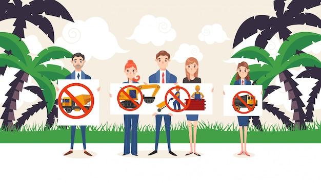 W budowie, demonstraci grupa z sztandarami, ilustracja. protest środowiskowy przeciwko budowaniu w tropikach