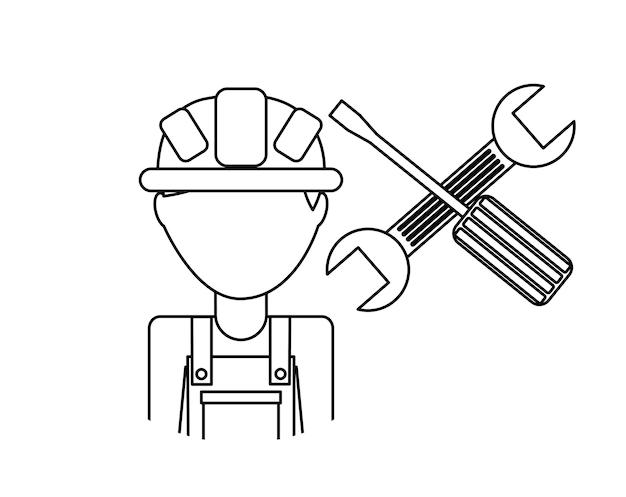 W budowie projekt, wektorowa ilustraci eps10 grafika