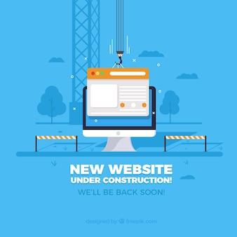 W budowie szablon strony internetowej w stylu płaski