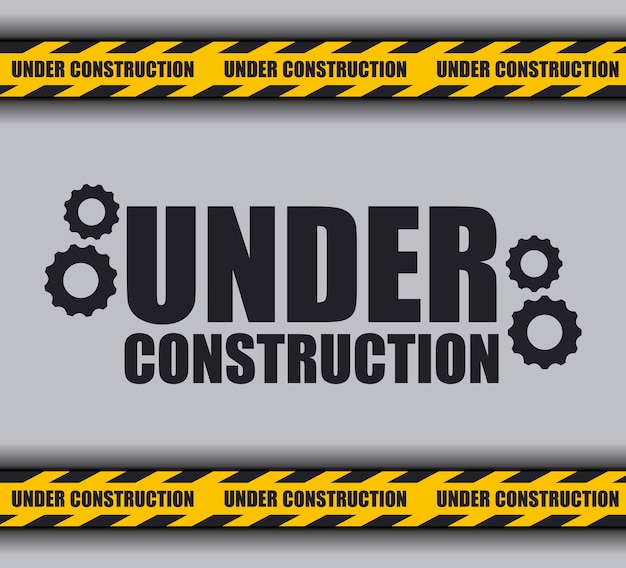 W budowie z taśmą ostrzegawczą na stronie internetowej