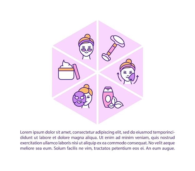 W domu ikona koncepcja procedury pielęgnacji twarzy z tekstem. domowe zabiegi kosmetyczne. rozjaśnianie skóry. szablon strony ppt.