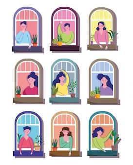 W domu kwarantanna, mężczyźni i kobiety w oknach budynku mieszkalnego ilustracja kreskówka