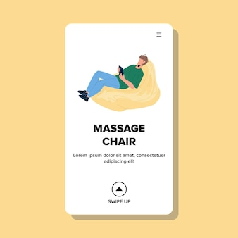 W fotelu do masażu relaks młody człowiek w domu wektor. chłopiec ma czas wolny i zdrową terapię w wygodnym fotelu do masażu. postać leczenie ilustracja kreskówka sieci web płaskie