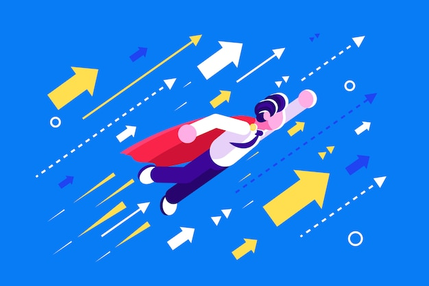 W górę. biznesmen latający jak superbohater w czerwonej pelerynie z żółtymi strzałkami.