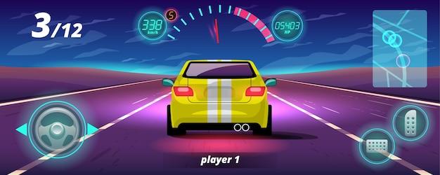 W grze kontynuacji gracz wykorzystał szybki samochód do zwycięstwa w grze wyścigowej.