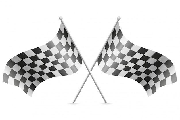 W kratkę flagi dla ilustracji wektorowych wyścigów samochodowych