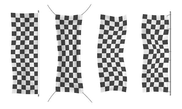 W kratkę wyścigi machające banery faliste czarno-białe flagi tło wektor flagi w szachownicę