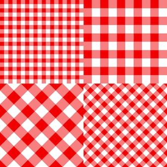 W kratkę wzór na kratę, obrus, opakowanie i piknik. ustaw czerwony klasyczny wzór. paski tekstury. tradycyjny materiał w kratkę.