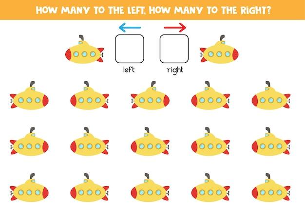 W lewo lub w prawo z łodzią podwodną z kreskówek. gra edukacyjna do nauki lewej i prawej strony.