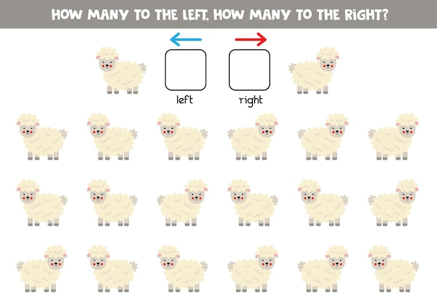 W lewo lub w prawo z owiec kreskówka. gra edukacyjna do nauki lewej i prawej strony.