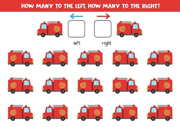 W lewo lub w prawo z wózkiem strażackim z kreskówek. gra edukacyjna do nauki lewej i prawej strony.